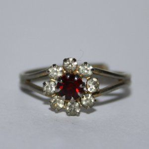 Vintage ruby and CZ flower ring adjustable